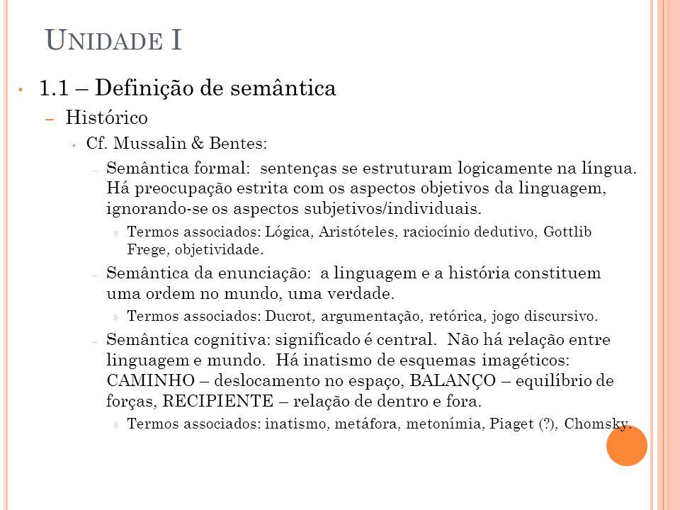 U NIDADE I 1.2 – Criação semântica – Processo básico é a nominação.