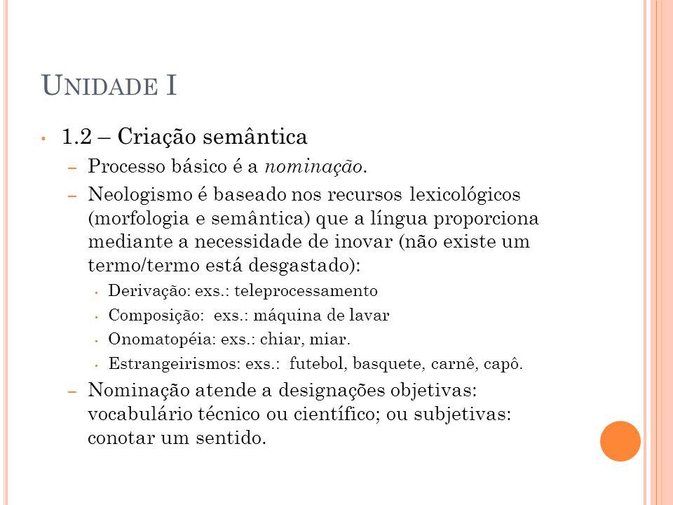 U NIDADE I 1.3 – Transferência de sentido Metáfora A METÁFORA E SUAS RAMIFICAÇÕES EXERCÍCIOS • Nas frases abaixo, coloque entre parênteses: (M) para Metáfora; (S) para Sinestesia; (P) para Personificação; (H) para Hipérbole e (C) catacrese.