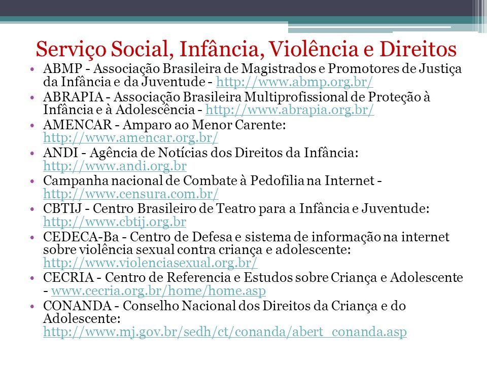 Serviço Social, Infância, Violência e Direitos ABMP - Associação Brasileira de Magistrados e Promotores de Justiça da Infância e da Juventude - http:/
