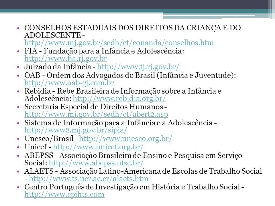 CONSELHOS ESTADUAIS DOS DIREITOS DA CRIANÇA E DO ADOLESCENTE - http://www.mj.gov.br/sedh/ct/conanda/conselhos.htm http://www.mj.gov.br/sedh/ct/conanda