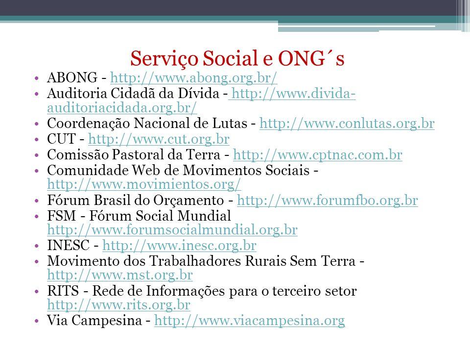 Serviço Social e ONG´s ABONG - http://www.abong.org.br/http://www.abong.org.br/ Auditoria Cidadã da Dívida - http://www.divida- auditoriacidada.org.br