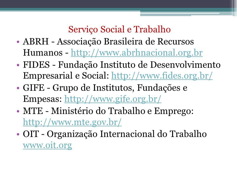 Serviço Social e Trabalho ABRH - Associação Brasileira de Recursos Humanos - http://www.abrhnacional.org.brhttp://www.abrhnacional.org.br FIDES - Fund