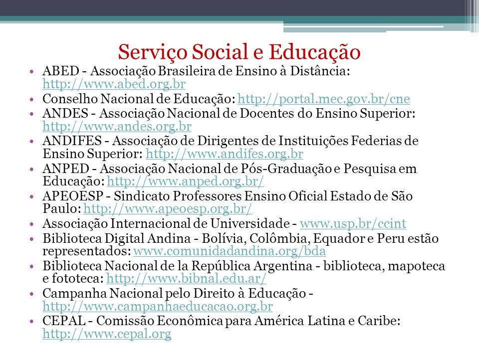 Serviço Social e Educação ABED - Associação Brasileira de Ensino à Distância: http://www.abed.org.br http://www.abed.org.br Conselho Nacional de Educa