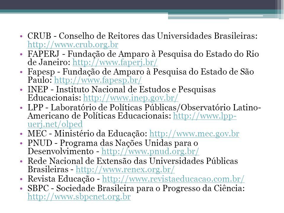 CRUB - Conselho de Reitores das Universidades Brasileiras: http://www.crub.org.br http://www.crub.org.br FAPERJ - Fundação de Amparo à Pesquisa do Est