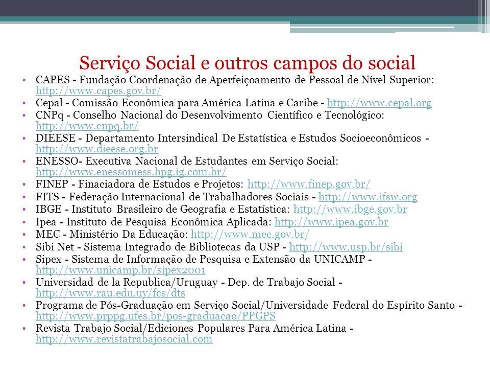 Serviço Social e outros campos do social CAPES - Fundação Coordenação de Aperfeiçoamento de Pessoal de Nível Superior: http://www.capes.gov.br/ http:/