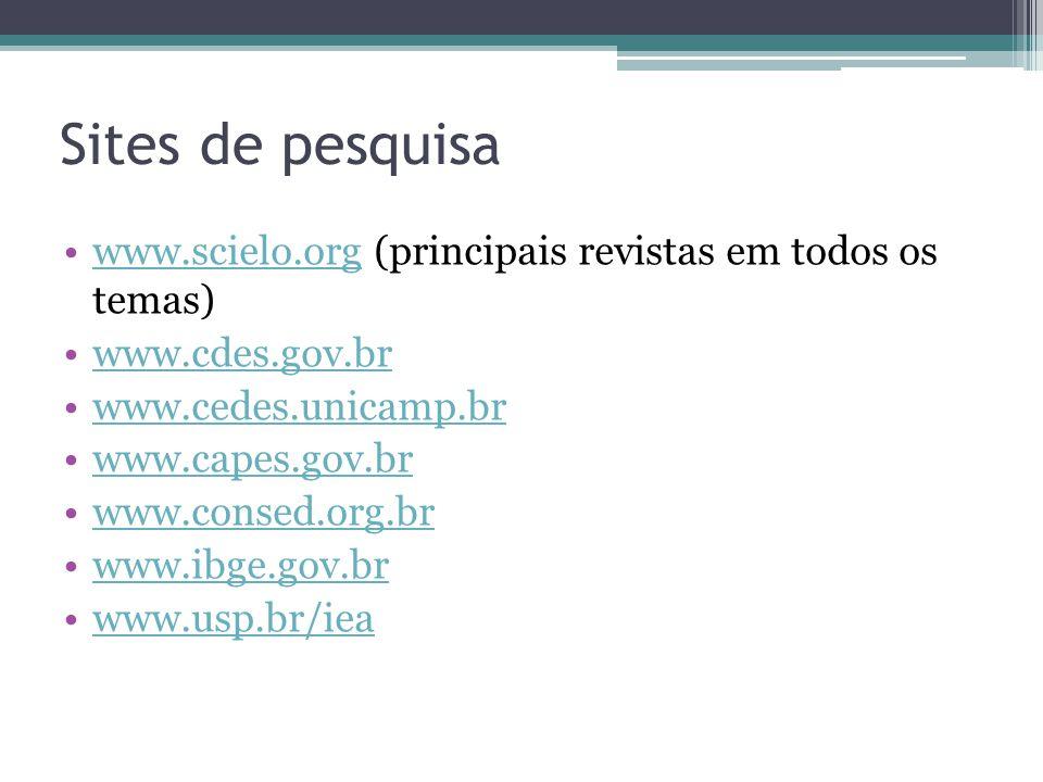 Sites de pesquisa www.scielo.org (principais revistas em todos os temas)www.scielo.org www.cdes.gov.br www.cedes.unicamp.br www.capes.gov.br www.conse