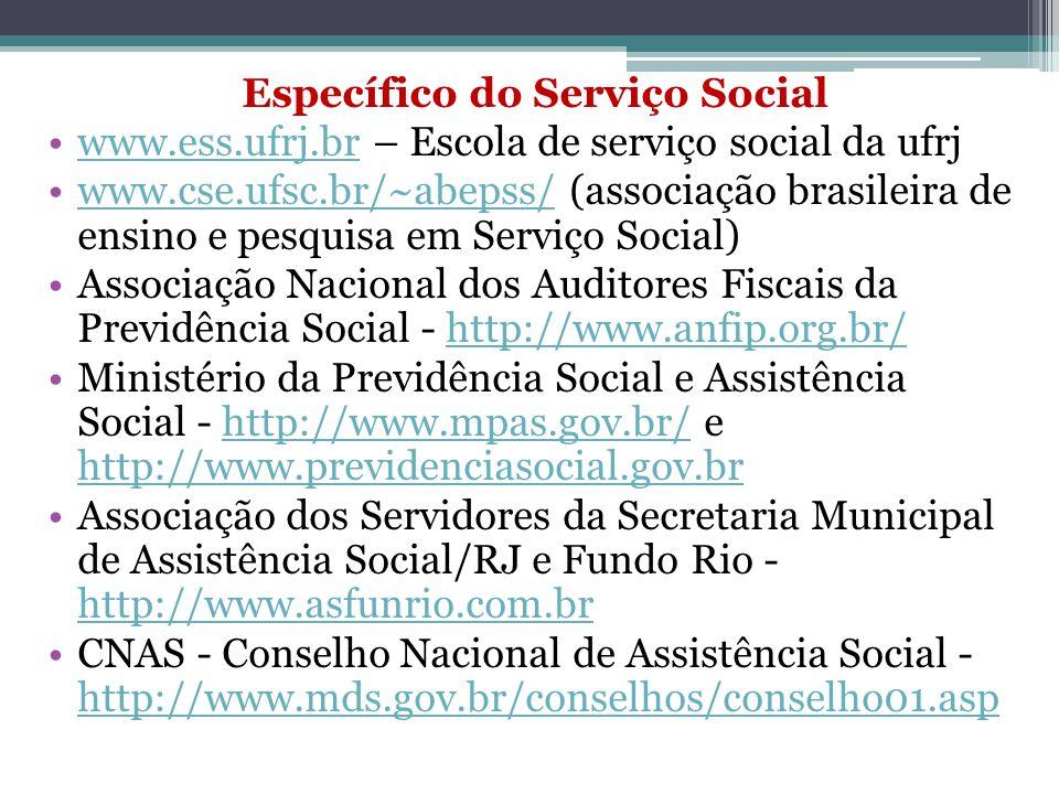 Serviço Social e Saúde Ministério do Desenvolvimento Social e Combate à Fome - http://www.desenvolvimentosocial.gov.br http://www.desenvolvimentosocial.gov.br ABRASCO - Associação Brasileira de Pós-Graduação em Saúde Coletiva - http://www.abrasco.org.br/http://www.abrasco.org.br/ ANVISA - Associação Nacional de Vigilância Sanitária - http://www.anvisa.gov.br/ http://www.anvisa.gov.br/ CONASEMS - Conselho Nacional de Secretários Municipais de Saúde - http://www.conasems.org.br/ http://www.conasems.org.br/ CONASS – Conselho Nacional de Secretários Estaduais de Saúde - http://www.conass.com.br/ http://www.conass.com.br/ CNS – Conselho Nacional de Saúde - http://conselho.saude.gov.br/http://conselho.saude.gov.br/ DATA SUS - http://www.datasus.gov.br/http://www.datasus.gov.br/ ENSP - Escola Nacional de Saúde Pública (Fiocruz) - http://www.ensp.fiocruz.br/ http://www.ensp.fiocruz.br/ FIOCRUZ - Fundação Oswaldo Cruz - http://www.fiocruz.brhttp://www.fiocruz.br FNS – Fundo Nacional de Saúde - http://www.fns.saude.gov.brhttp://www.fns.saude.gov.br IMS – Instituto de Medicina Social (UERJ) - http://www.ims.uerj.brhttp://www.ims.uerj.br Ministério da Saúde - http://portal.saude.gov.br/saudehttp://portal.saude.gov.br/saude OPAS – Organização Pan-americana de Saúde - http://www.opas.org.br/ http://www.opas.org.br/