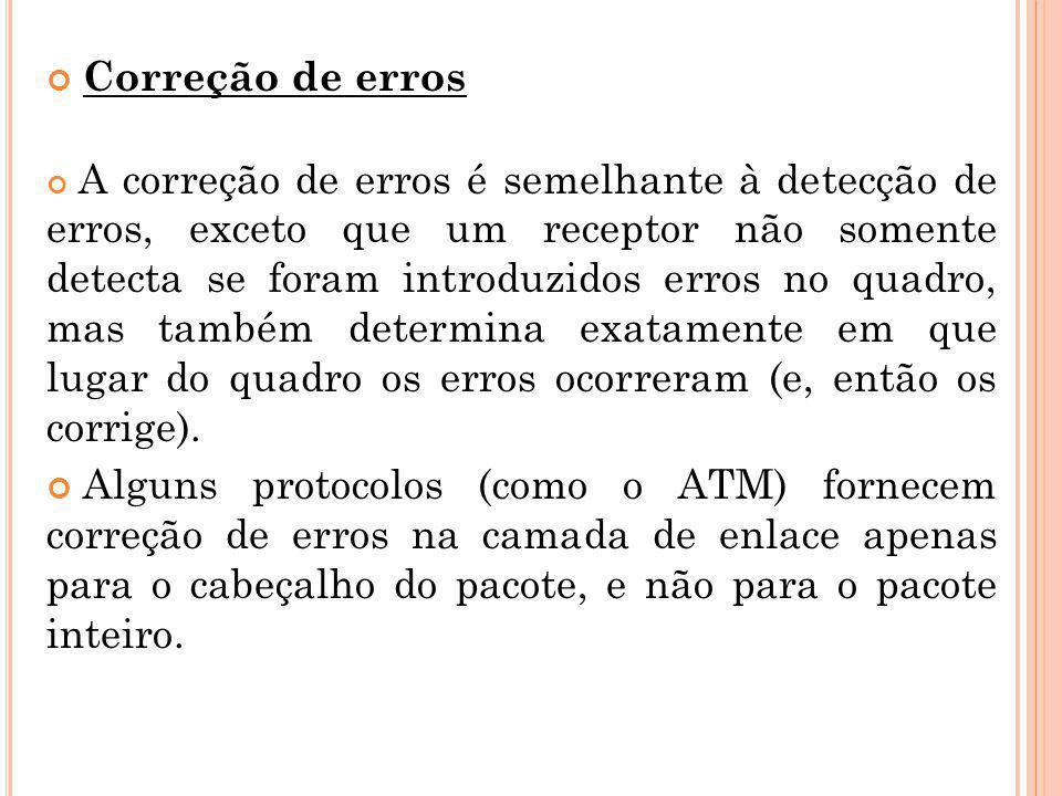 Correção de erros A correção de erros é semelhante à detecção de erros, exceto que um receptor não somente detecta se foram introduzidos erros no quad