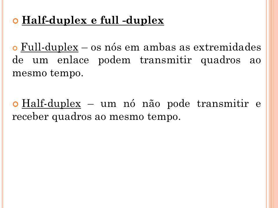 Half-duplex e full -duplex Full-duplex – os nós em ambas as extremidades de um enlace podem transmitir quadros ao mesmo tempo. Half-duplex – um nó não