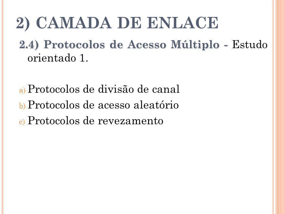 2) CAMADA DE ENLACE 2.4) Protocolos de Acesso Múltiplo - 2.4) Protocolos de Acesso Múltiplo - Estudo orientado 1. a) Protocolos de divisão de canal b)