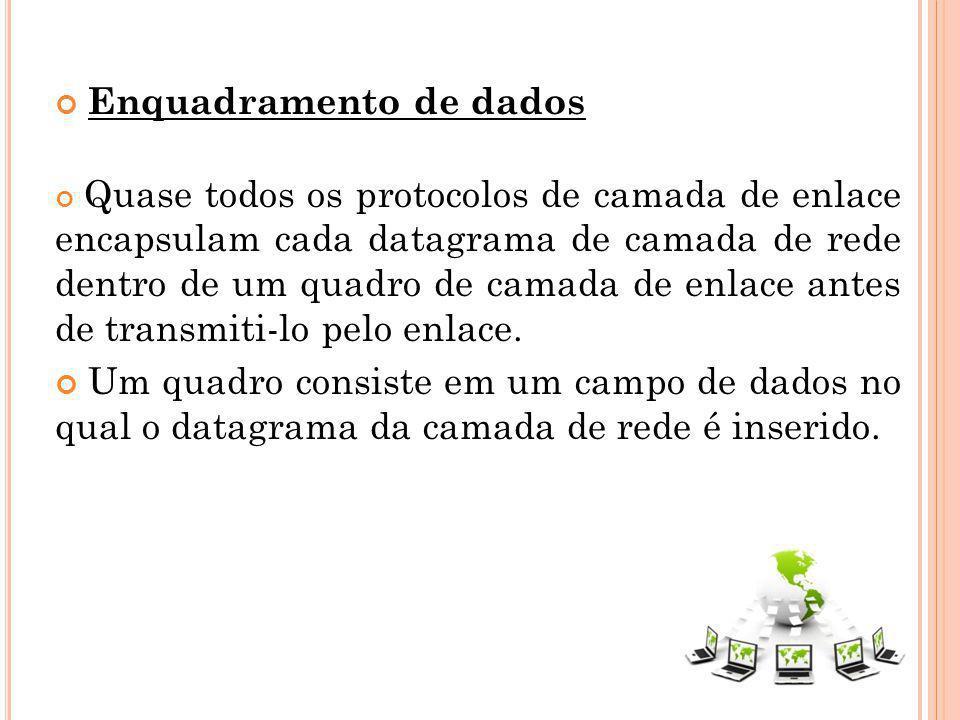 Enquadramento de dados Quase todos os protocolos de camada de enlace encapsulam cada datagrama de camada de rede dentro de um quadro de camada de enla