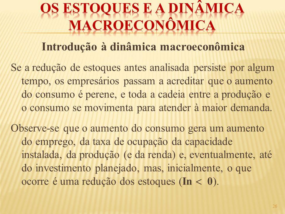 Introdução à dinâmica macroeconômica Se a redução de estoques antes analisada persiste por algum tempo, os empresários passam a acreditar que o aument