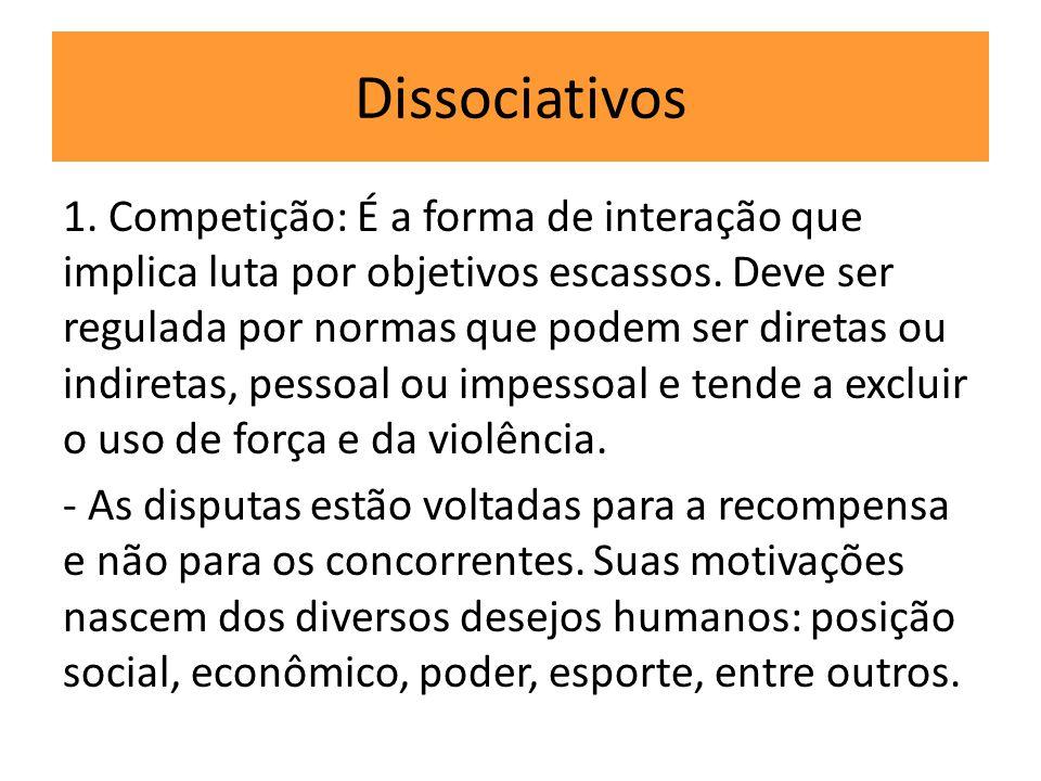 Dissociativos 1. Competição: É a forma de interação que implica luta por objetivos escassos. Deve ser regulada por normas que podem ser diretas ou ind