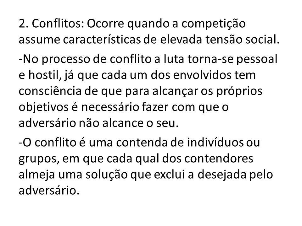 2. Conflitos: Ocorre quando a competição assume características de elevada tensão social. -No processo de conflito a luta torna-se pessoal e hostil, j