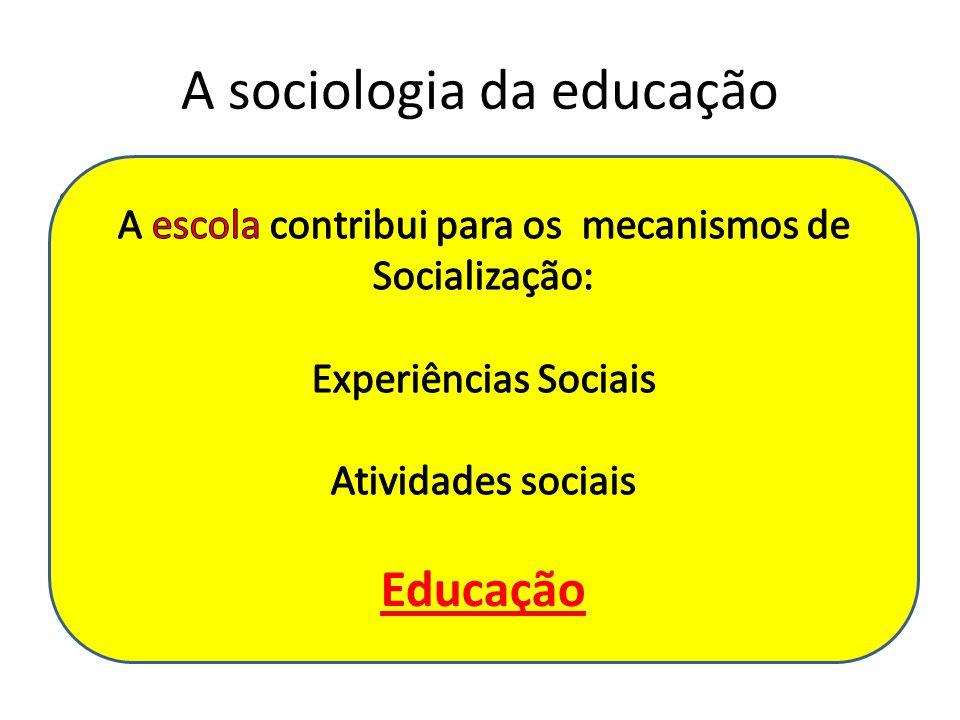 A sociologia da educação Investiga a escola enquanto instituição social, analisando os seus processos envolvidos na transmissão de ensino; A escola su