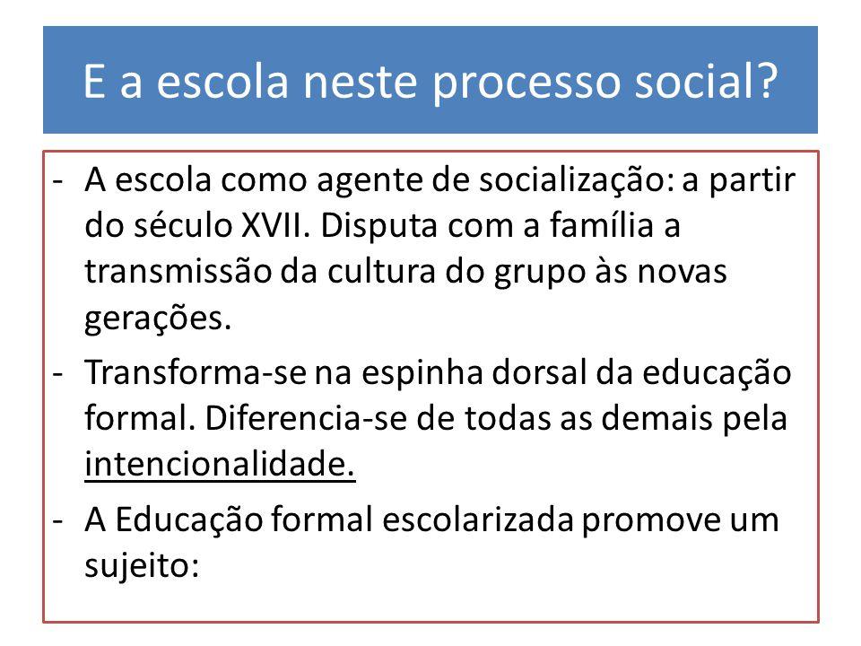 E a escola neste processo social? -A escola como agente de socialização: a partir do século XVII. Disputa com a família a transmissão da cultura do gr