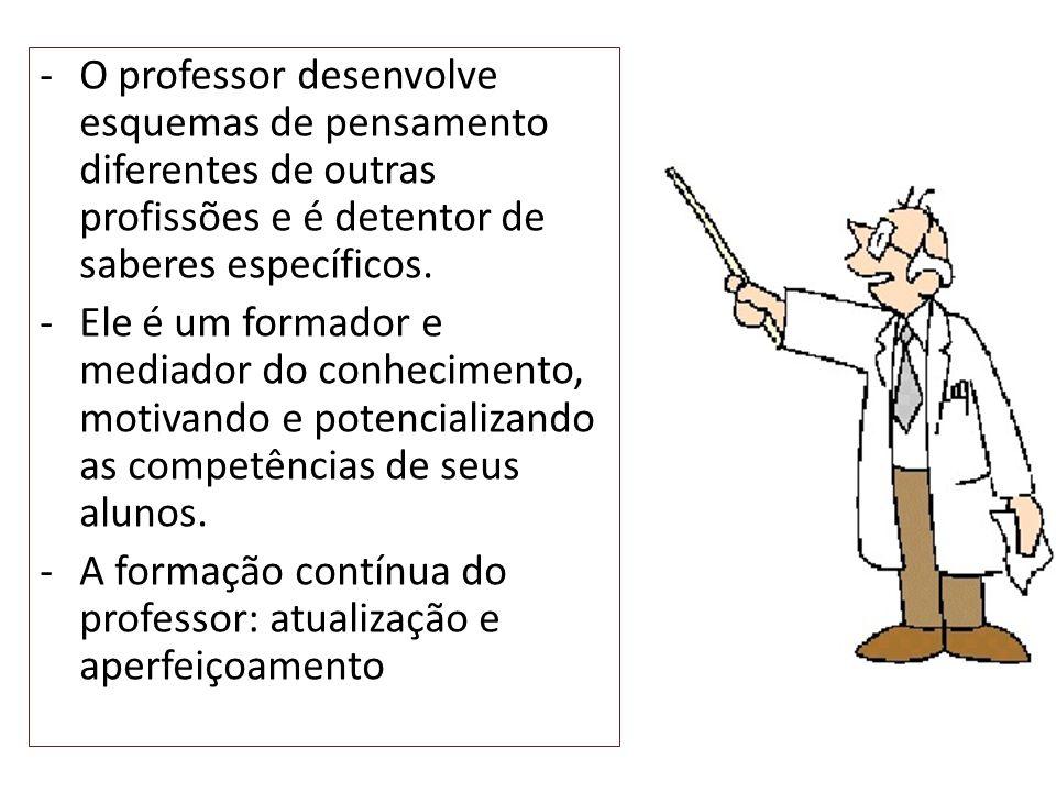 -O professor desenvolve esquemas de pensamento diferentes de outras profissões e é detentor de saberes específicos. -Ele é um formador e mediador do c