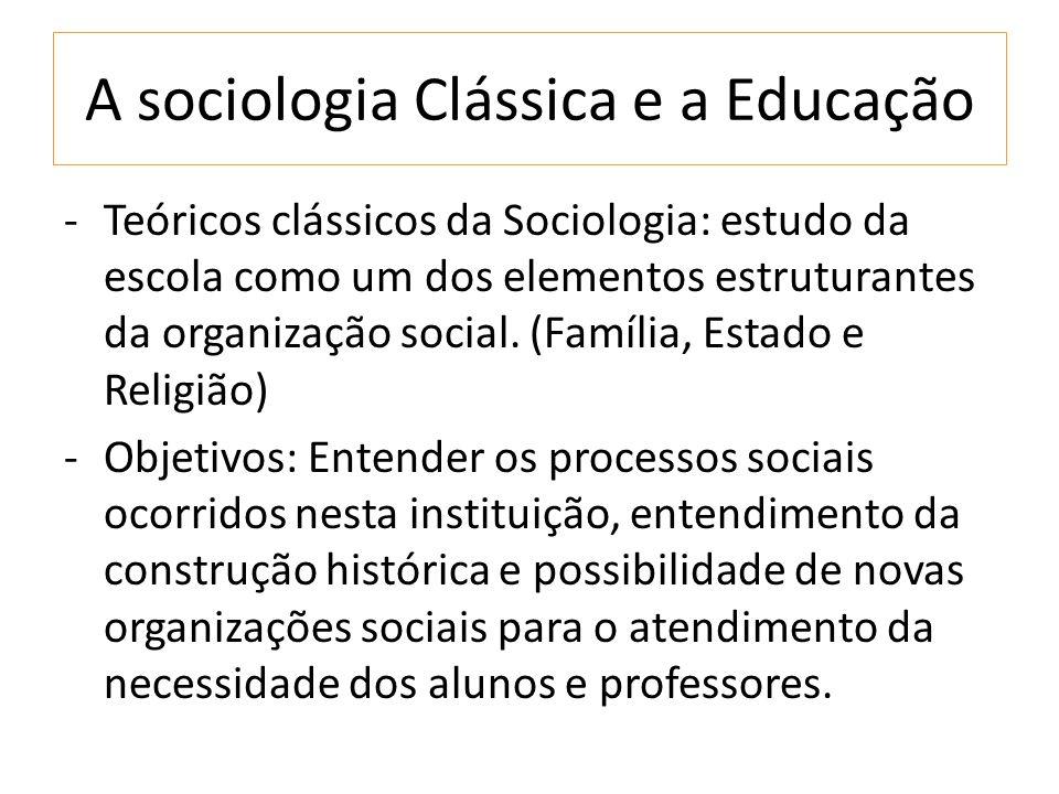 A sociologia Clássica e a Educação -Teóricos clássicos da Sociologia: estudo da escola como um dos elementos estruturantes da organização social.