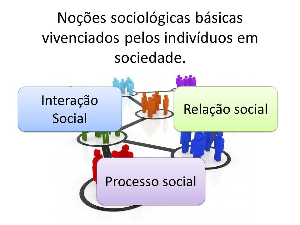 Noções sociológicas básicas vivenciados pelos indivíduos em sociedade. Interação Social Relação social Processo social