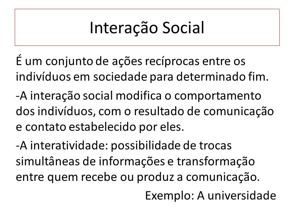Interação Social É um conjunto de ações recíprocas entre os indivíduos em sociedade para determinado fim. -A interação social modifica o comportamento