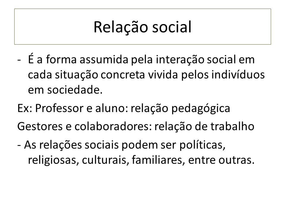 Relação social -É a forma assumida pela interação social em cada situação concreta vivida pelos indivíduos em sociedade. Ex: Professor e aluno: relaçã