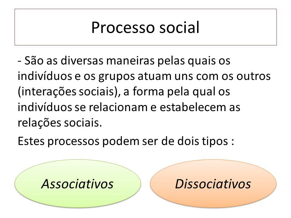 Processo social - São as diversas maneiras pelas quais os indivíduos e os grupos atuam uns com os outros (interações sociais), a forma pela qual os indivíduos se relacionam e estabelecem as relações sociais.
