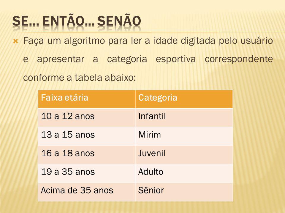Faça um algoritmo para ler a idade digitada pelo usuário e apresentar a categoria esportiva correspondente conforme a tabela abaixo: Faixa etáriaCateg