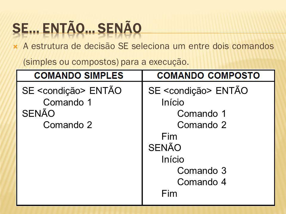 A estrutura de decisão SE seleciona um entre dois comandos (simples ou compostos) para a execução. SE ENTÃO Comando 1 SENÃO Comando 2 SE ENTÃO Início