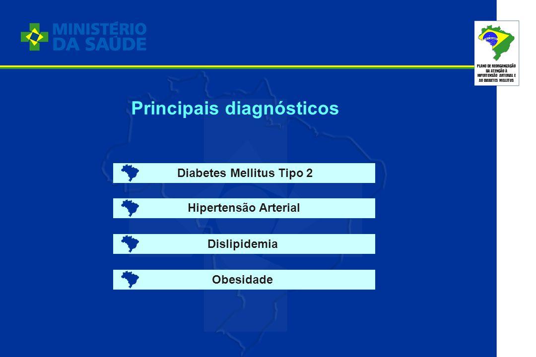 PLANO DE REORGANIZAÇÃO DA ATENÇÃO À HIPERTENSÃO ARTERIAL E AO DIABETES MELLITUS Principais diagnósticos Diabetes Mellitus Tipo 2 Hipertensão Arterial