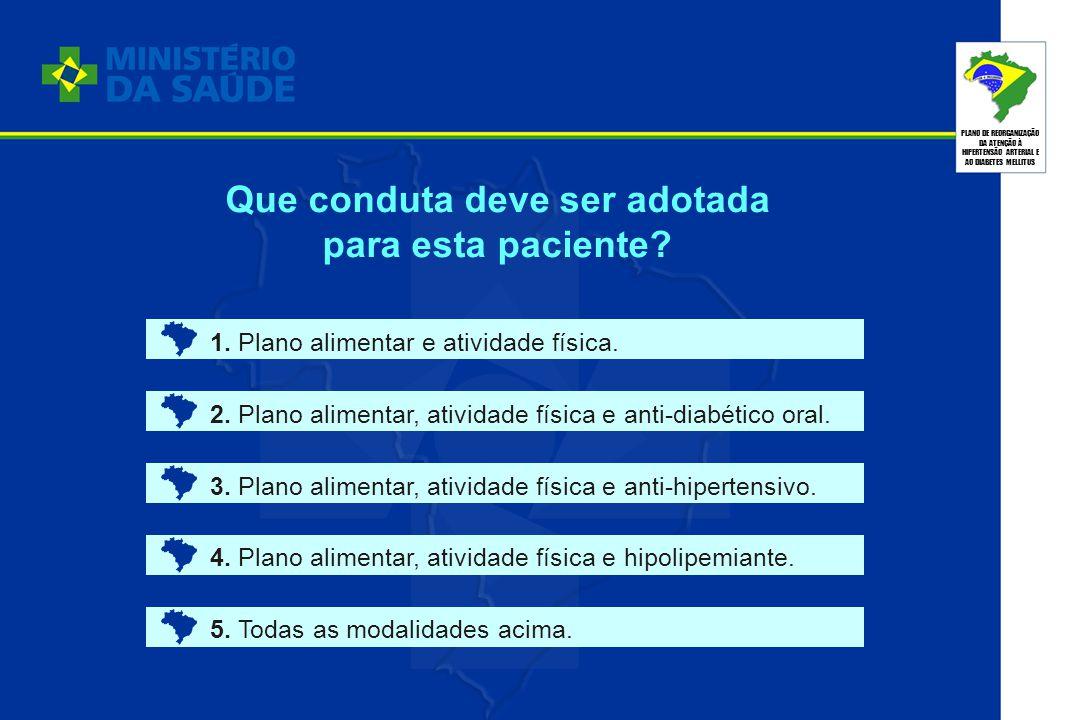 PLANO DE REORGANIZAÇÃO DA ATENÇÃO À HIPERTENSÃO ARTERIAL E AO DIABETES MELLITUS Que conduta deve ser adotada para esta paciente? 1. Plano alimentar e