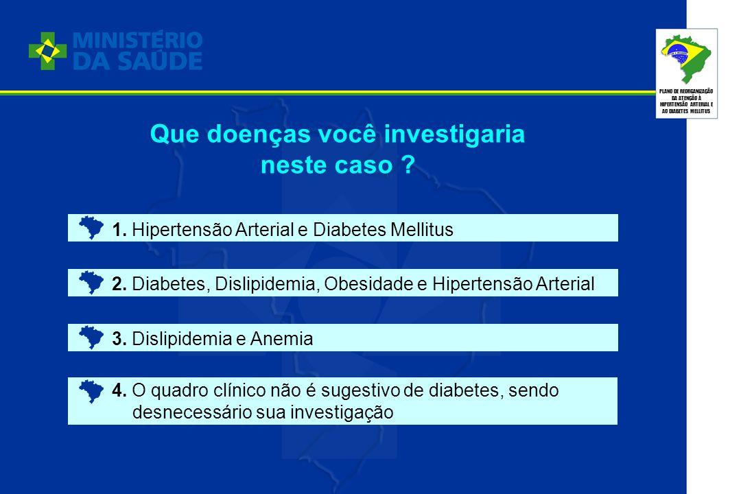 PLANO DE REORGANIZAÇÃO DA ATENÇÃO À HIPERTENSÃO ARTERIAL E AO DIABETES MELLITUS 1. Hipertensão Arterial e Diabetes Mellitus 2. Diabetes, Dislipidemia,