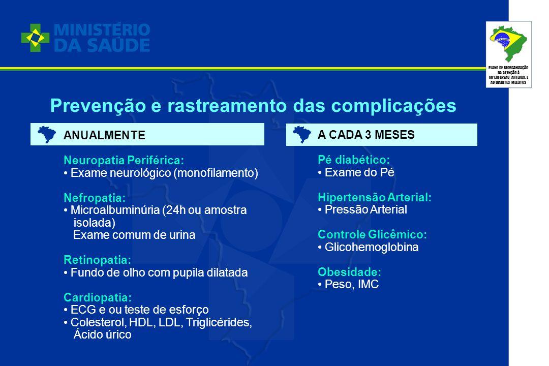 PLANO DE REORGANIZAÇÃO DA ATENÇÃO À HIPERTENSÃO ARTERIAL E AO DIABETES MELLITUS ANUALMENTE Neuropatia Periférica: Exame neurológico (monofilamento) Ne