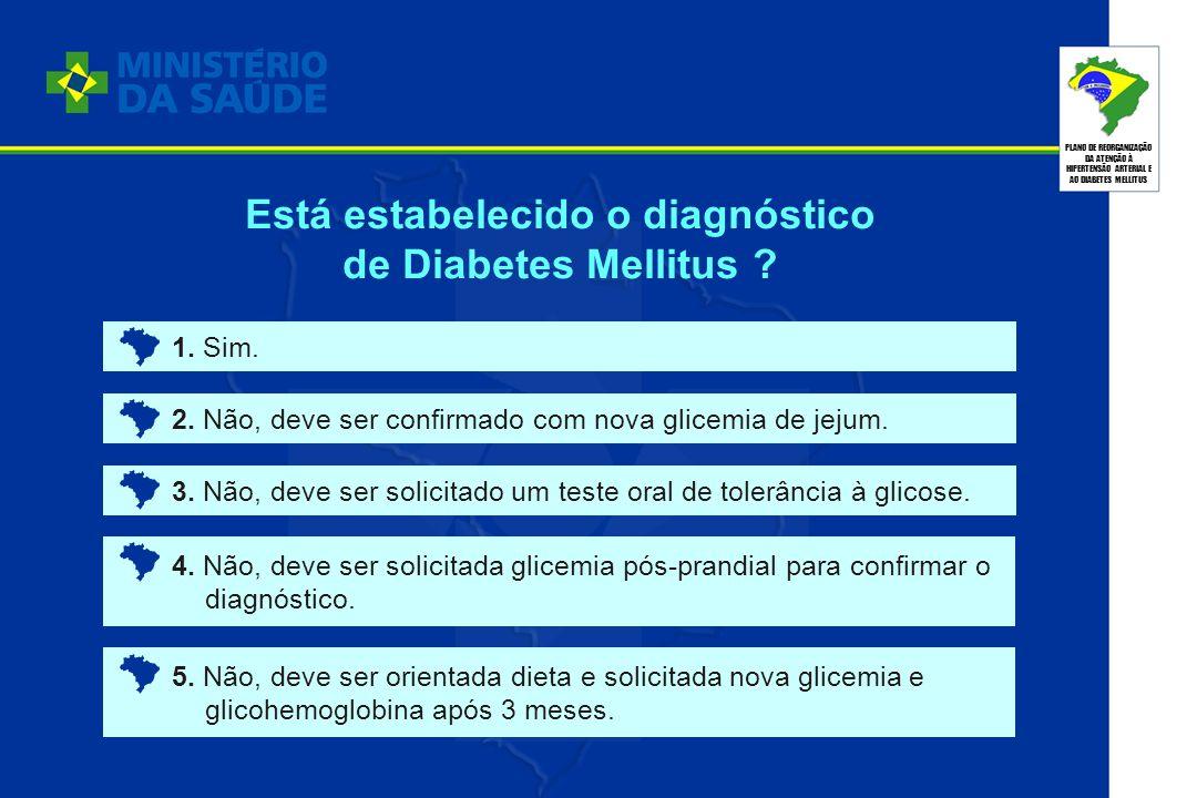 PLANO DE REORGANIZAÇÃO DA ATENÇÃO À HIPERTENSÃO ARTERIAL E AO DIABETES MELLITUS 1. Sim. 2. Não, deve ser confirmado com nova glicemia de jejum. 3. Não