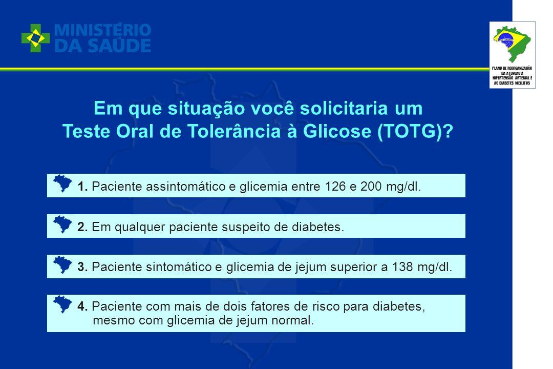 PLANO DE REORGANIZAÇÃO DA ATENÇÃO À HIPERTENSÃO ARTERIAL E AO DIABETES MELLITUS 1. Paciente assintomático e glicemia entre 126 e 200 mg/dl. 2. Em qual