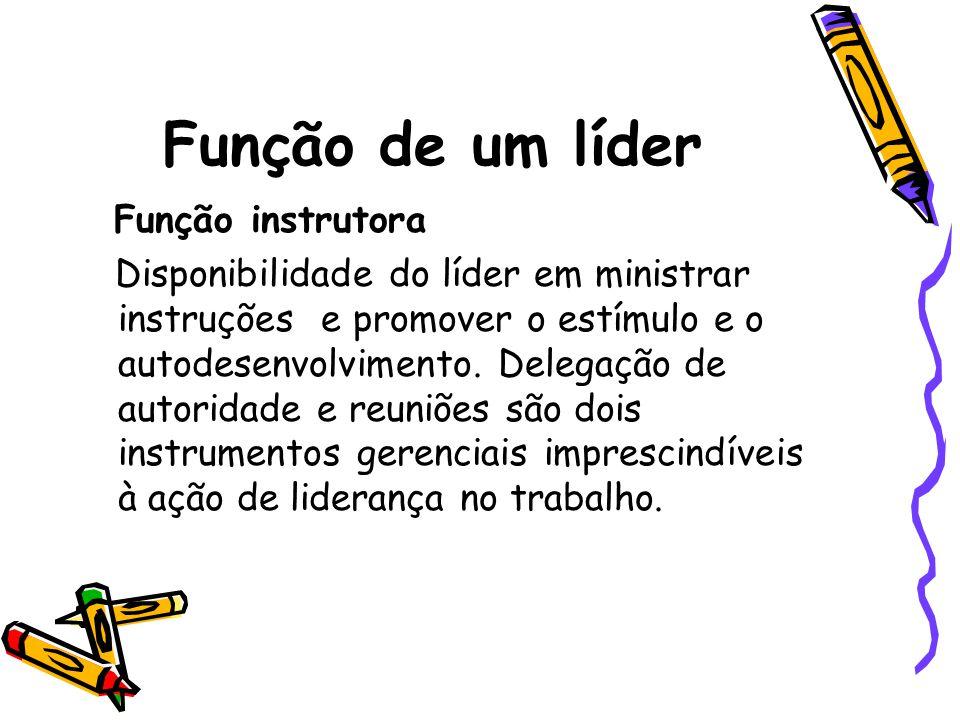 Função de um líder Função instrutora Disponibilidade do líder em ministrar instruções e promover o estímulo e o autodesenvolvimento. Delegação de auto