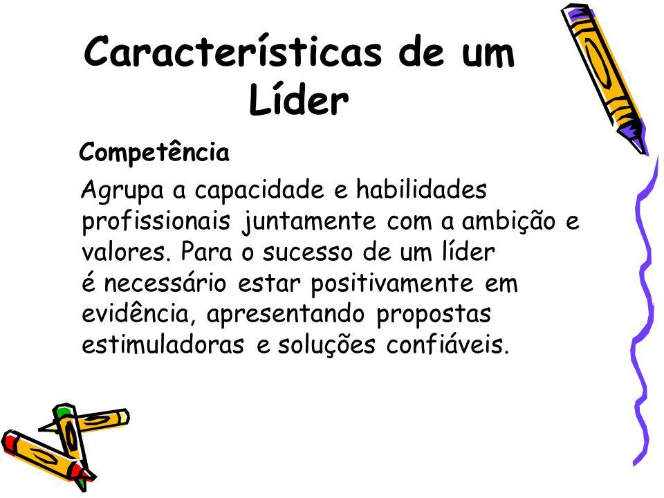 Características de um Líder Competência Agrupa a capacidade e habilidades profissionais juntamente com a ambição e valores. Para o sucesso de um líder