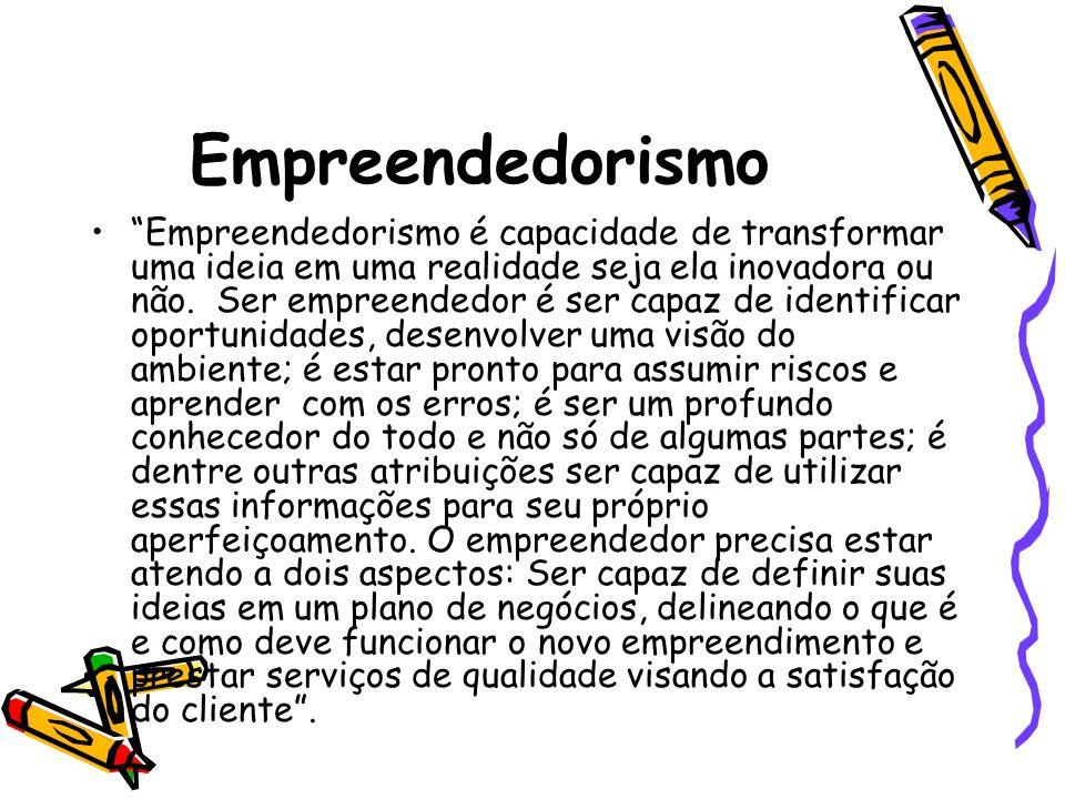 Empreendedorismo Empreendedorismo é capacidade de transformar uma ideia em uma realidade seja ela inovadora ou não. Ser empreendedor é ser capaz de id