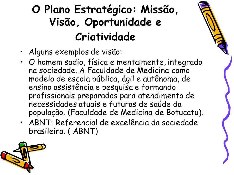 O Plano Estratégico: Missão, Visão, Oportunidade e Criatividade Alguns exemplos de visão: O homem sadio, física e mentalmente, integrado na sociedade.