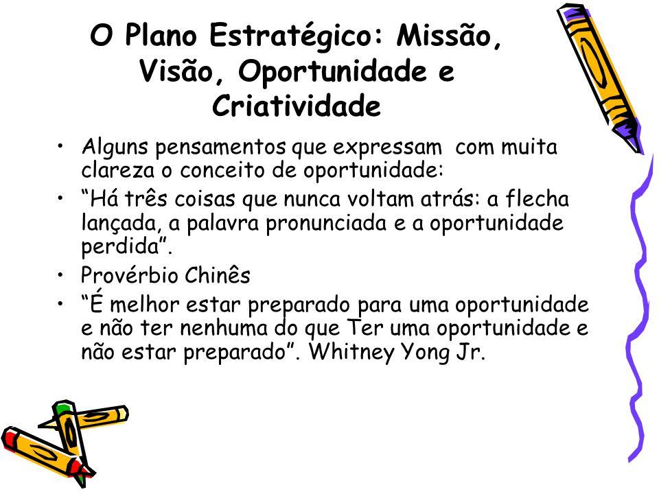 O Plano Estratégico: Missão, Visão, Oportunidade e Criatividade Alguns pensamentos que expressam com muita clareza o conceito de oportunidade: Há três