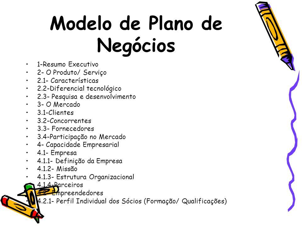 Modelo de Plano de Negócios 1-Resumo Executivo 2- O Produto/ Serviço 2.1- Características 2.2-Diferencial tecnológico 2.3- Pesquisa e desenvolvimento