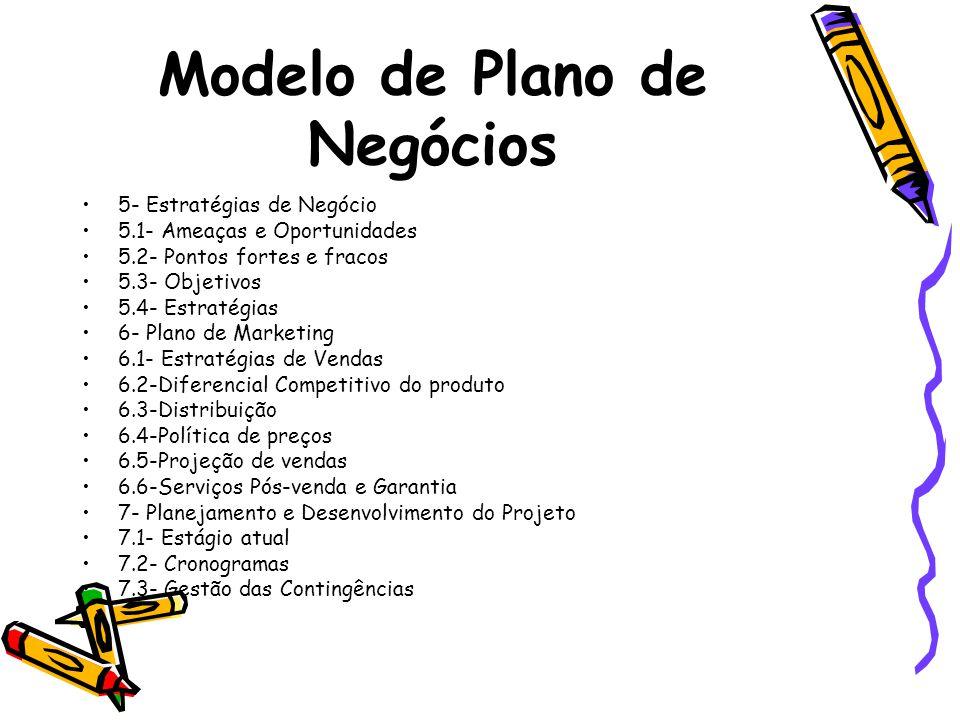 Modelo de Plano de Negócios 5- Estratégias de Negócio 5.1- Ameaças e Oportunidades 5.2- Pontos fortes e fracos 5.3- Objetivos 5.4- Estratégias 6- Plan
