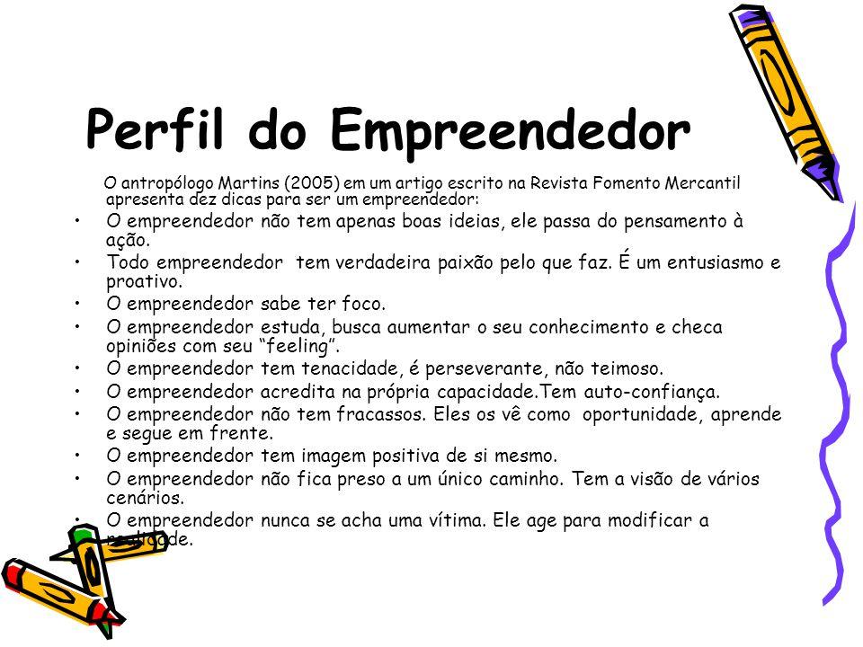 Perfil do Empreendedor O antropólogo Martins (2005) em um artigo escrito na Revista Fomento Mercantil apresenta dez dicas para ser um empreendedor: O