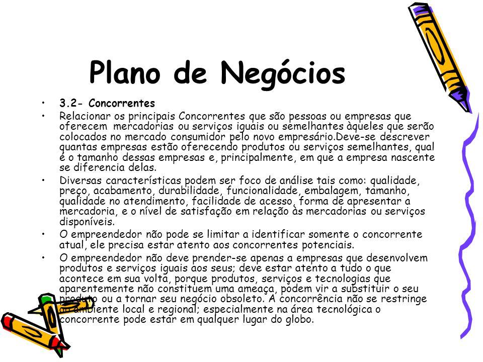 Plano de Negócios 3.2- Concorrentes Relacionar os principais Concorrentes que são pessoas ou empresas que oferecem mercadorias ou serviços iguais ou s