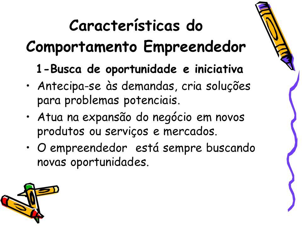 Características do Comportamento Empreendedor 1-Busca de oportunidade e iniciativa Antecipa-se às demandas, cria soluções para problemas potenciais. A