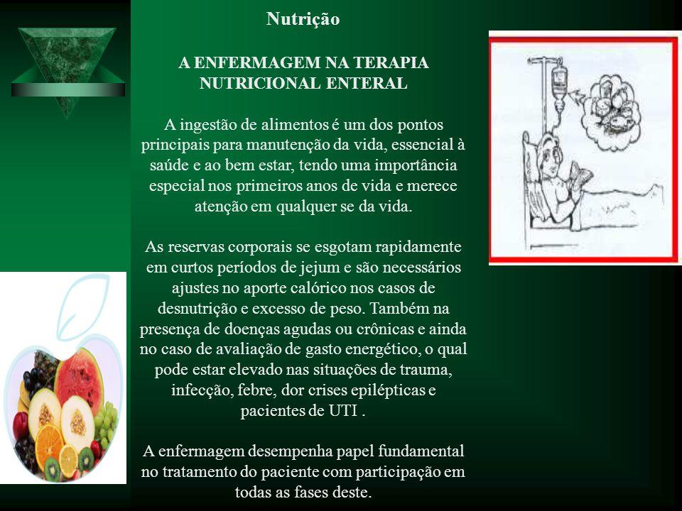 Nutrição A ENFERMAGEM NA TERAPIA NUTRICIONAL ENTERAL A ingestão de alimentos é um dos pontos principais para manutenção da vida, essencial à saúde e a