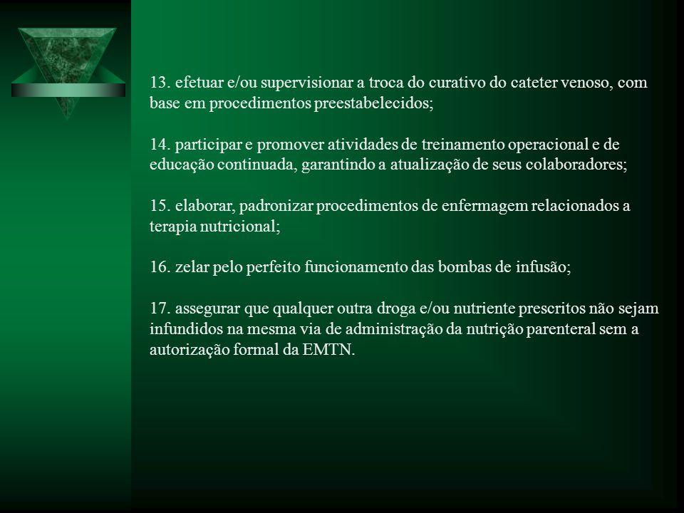 13. efetuar e/ou supervisionar a troca do curativo do cateter venoso, com base em procedimentos preestabelecidos; 14. participar e promover atividades