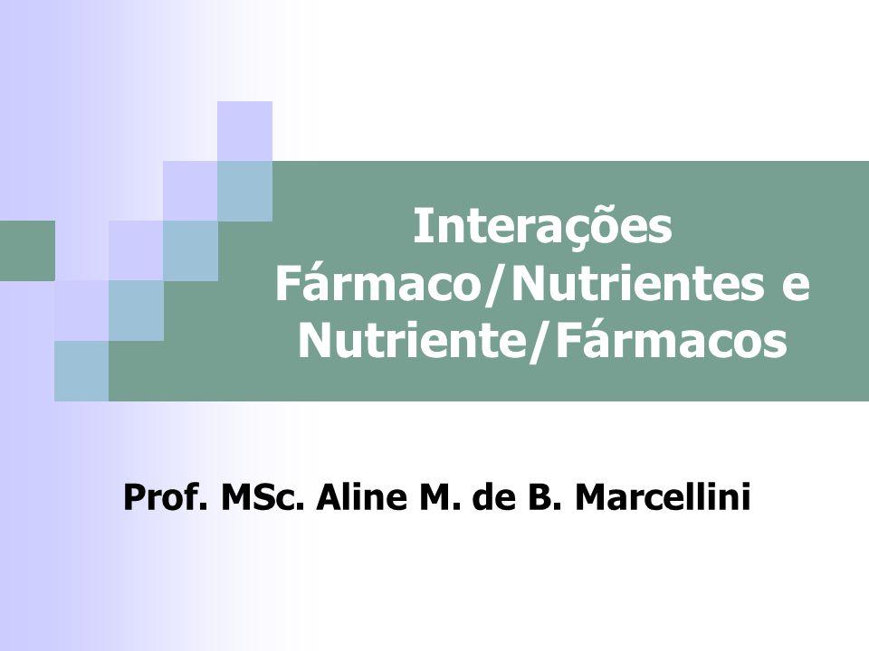 ALTERAÇÃO NO METABOLISMO E EXCREÇÃO DOS NUTRIENTES Drogas antivitaminícas (inibe enzimas por competição com as vitaminas) – Folato (MTX (câncer) e pirimetidina (anti- protozoários) ; B6 (L-dopa (anti-parkinson), penicilina, hidralasina (vasodilatodor)); K (cumarínicos) - cuidado com vegetais;