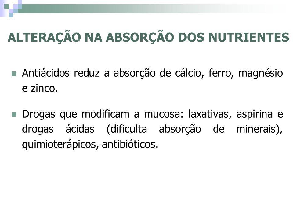 Antiácidos reduz a absorção de cálcio, ferro, magnésio e zinco. Drogas que modificam a mucosa: laxativas, aspirina e drogas ácidas (dificulta absorção