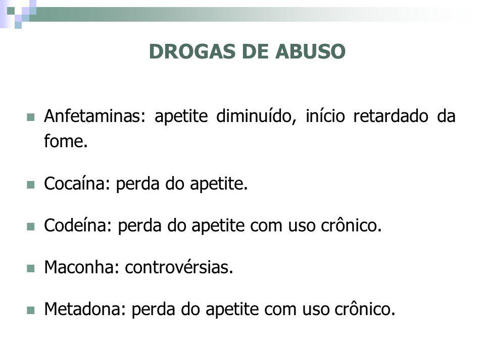 DROGAS DE ABUSO Anfetaminas: apetite diminuído, início retardado da fome. Cocaína: perda do apetite. Codeína: perda do apetite com uso crônico. Maconh