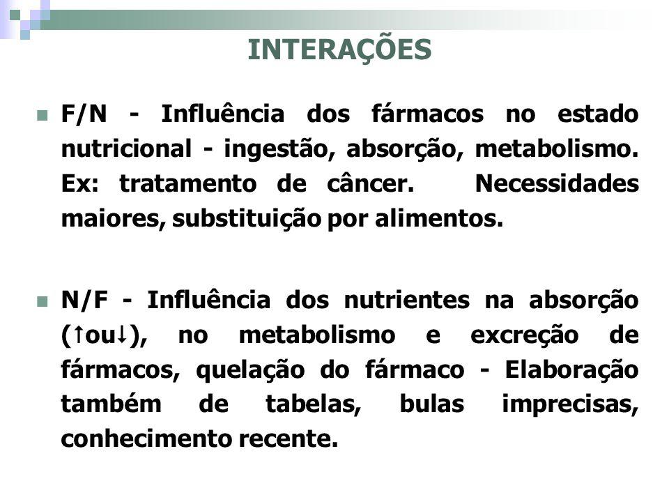 INTERAÇÕES F/N - Influência dos fármacos no estado nutricional - ingestão, absorção, metabolismo. Ex: tratamento de câncer. Necessidades maiores, subs